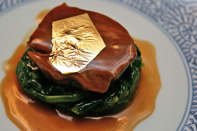 Braised Beef Cheek in Sweet and Sour Sauce and Gold Leaf
