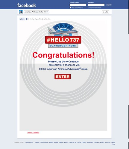 American Airlines Facebook page scavenger hunt