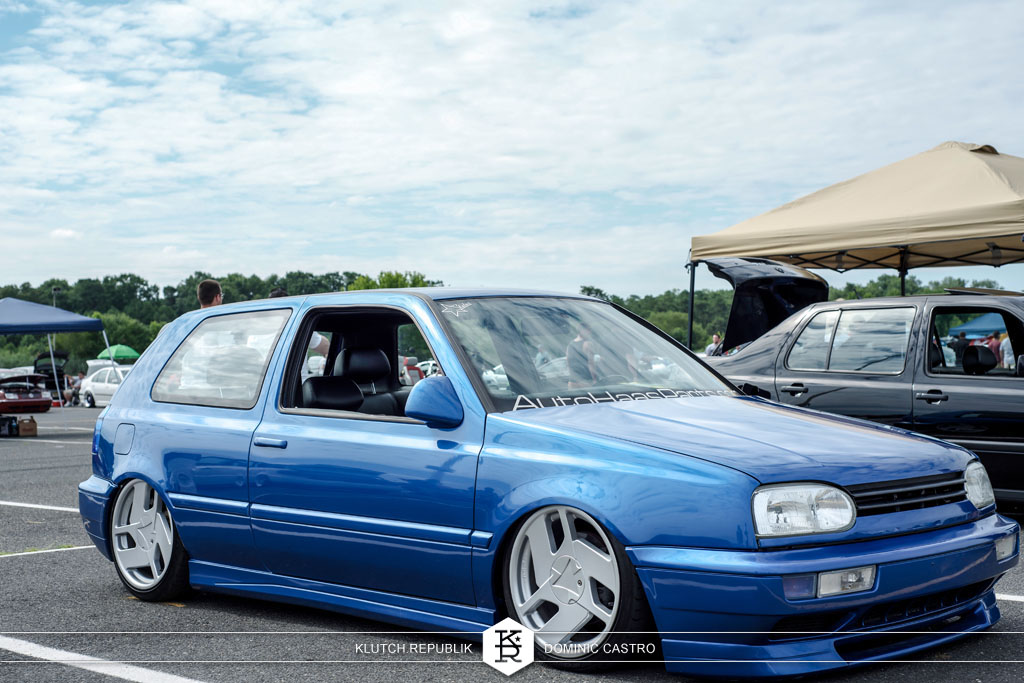 blue mk3 gti golf nothelle at waterfest 18 2012 3pc wheels static airride low slammed coilovers stance stanced hellaflush poke tuck negative postive camber fitment fitted tire stretch laid out hard parked seen on klutch republik