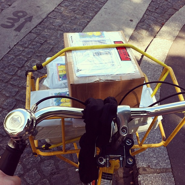 I love riding my La Poste #bike to drop off packages at the post office. I always get smiles when people see me in the bike with the basket full of packages. #velo #paris #loisivethe