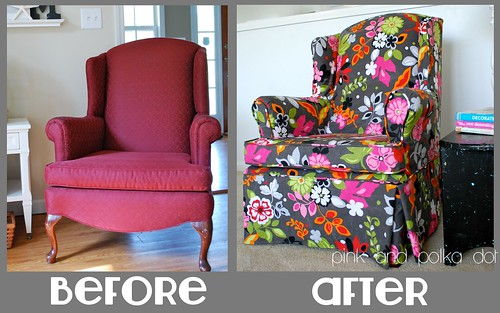 Before / After Gray Floral Slipcover