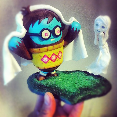 """Boo."" OG sculpture for @mrscotttolleson #Nosellots show at Screaming Sky Gallery on August 11th.  #art #sculpture #ghost #designertoy #jessleysnipes"