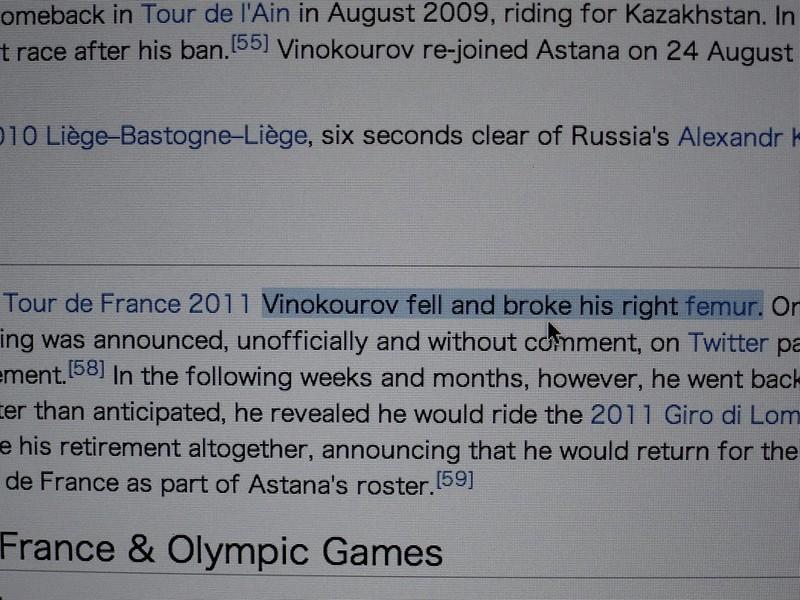 Alexander Vinokourov fell and broke his right femur.