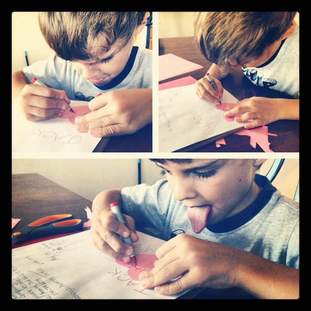 He has come a long way with his handwriting. He still sticks his tongue out! #funnykid