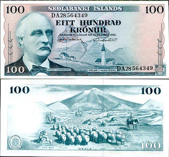 100 Krónur Island 1961, Pick 44