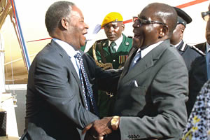 Zambian President Michael Sata is in Zimbabwe on a three day official visit. Sata was greeted at the Harare International Airport by President Robert Mugabe and other government officials. by Pan-African News Wire File Photos