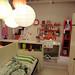 ユルく仕切られたイケアの2人用の子供部屋の写真