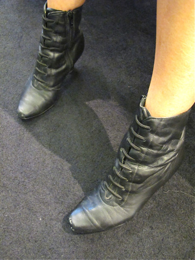 We love boots! These boots add an edge to girly outfits.