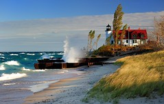 """Breaking Light""  Point Betsie Lighthouse Crystalia, Michigan by Michigan Nut"