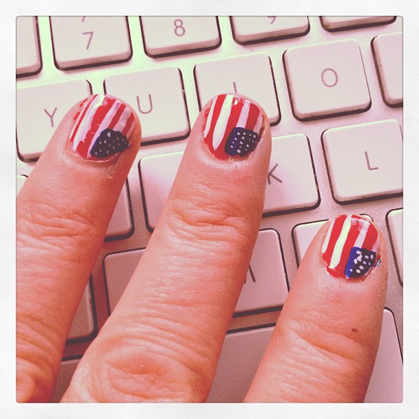 @sabinamalie decided I needed patriotic nails! she certainly doesn't get her patience from me