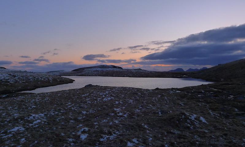 Nameless lochan at sunset