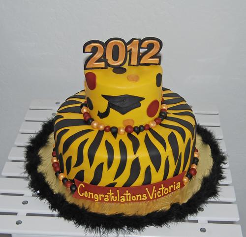 2012 zebra print ASU graduation cake