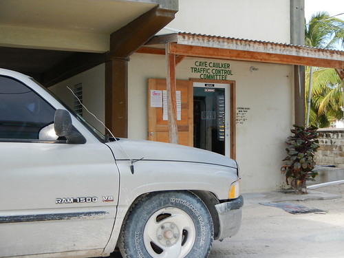 Caye Caulker traffic control office and Dodge Ram pickup