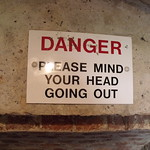 Sherborne Castle - Ice House - sign - Danger - Please mind your head going out