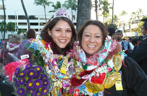 <p>Happy UH West O'ahu graduates celebrate after commencement on May 12</p>