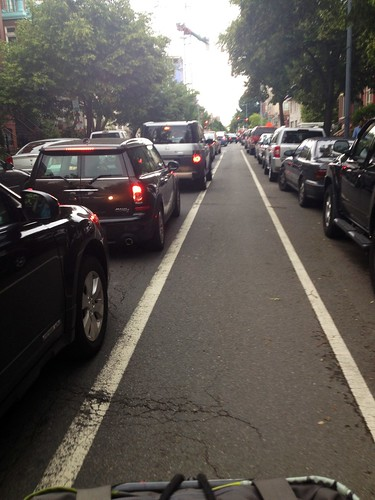 traffic. but not in bike lane.
