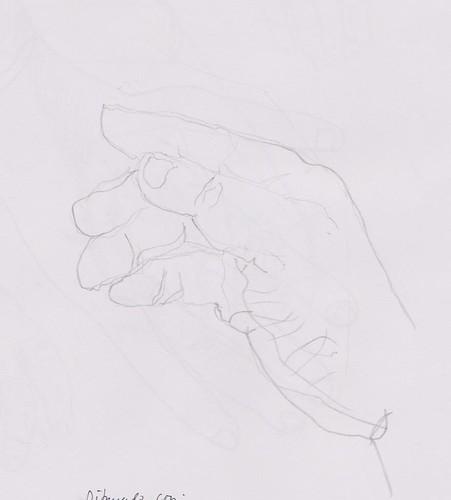 Mano  derecha, dibujada con la mano izquierda