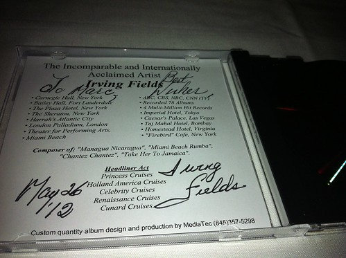 Signed Iriving Fields CD cover
