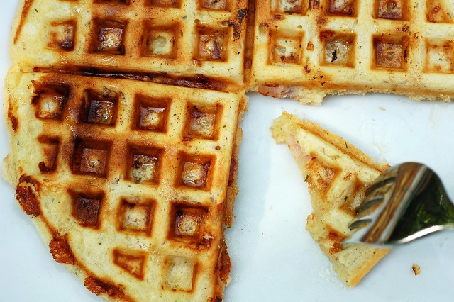 Ham and cheddar waffles with fresh rosemary by Eve Fox, Garden of Eating blog, copyright 2012