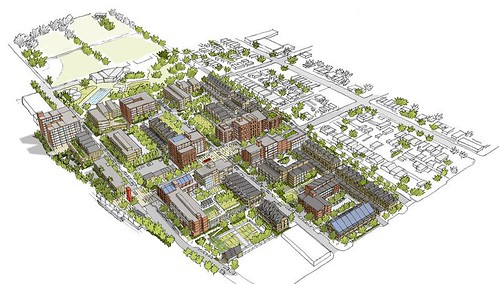 rendering of South Lincoln and Mariposa when built out (courtesy of Mithun)