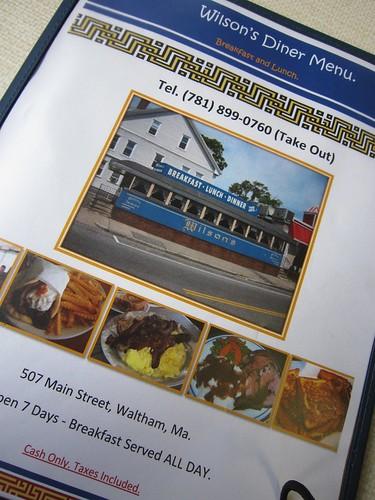 Wilson's Diner Waltham MA Menu