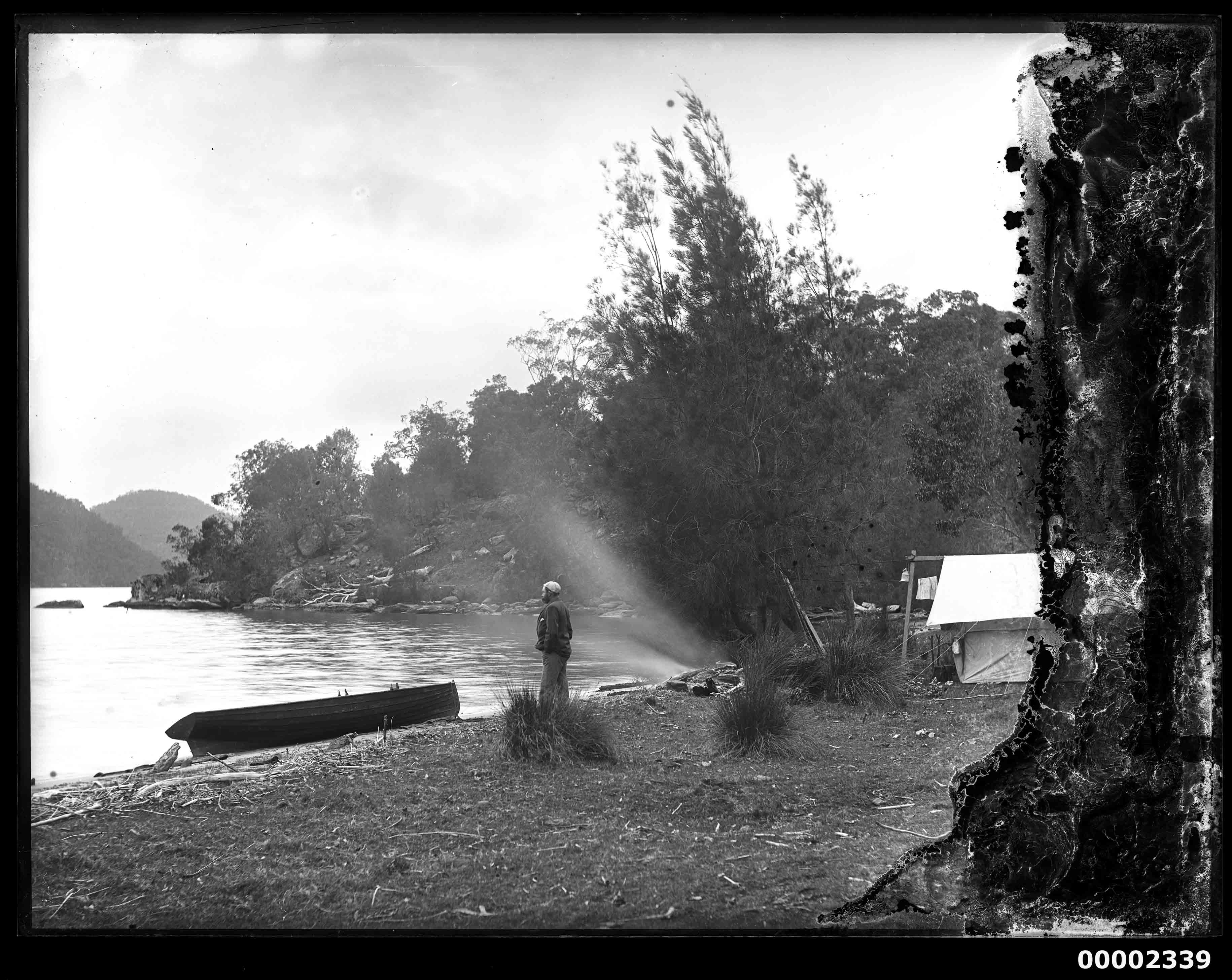 Camp set up, possibly by the Hawkesbury River, 1880-1909