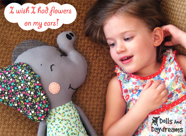 Elephant softie sewing pattern plushie copy