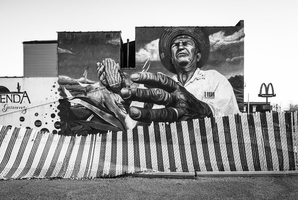 son of corn mural in mexicantown detroit black and white
