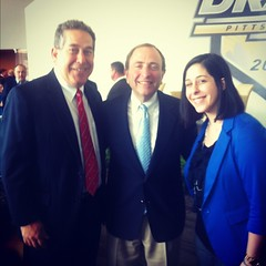Stopping for a picture with NHL Commissioner, Gary Bettman