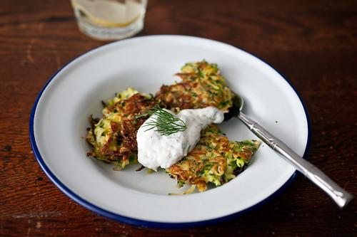 zucchini green garlic latkes