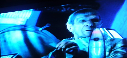 Spock at the helm, wearing a space suit, trying unsuccessfully to save planet Romulus, Alpha Quadrant, fiction, Star Trek film 2009, on TV, Seattle, Washington, USA by Wonderlane