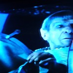 Spock at the helm, wearing a space suit, trying unsuccessfully to save planet Romulus, Alpha Quadrant, fiction, Star Trek film 2009, on TV, Seattle, Washington, USA