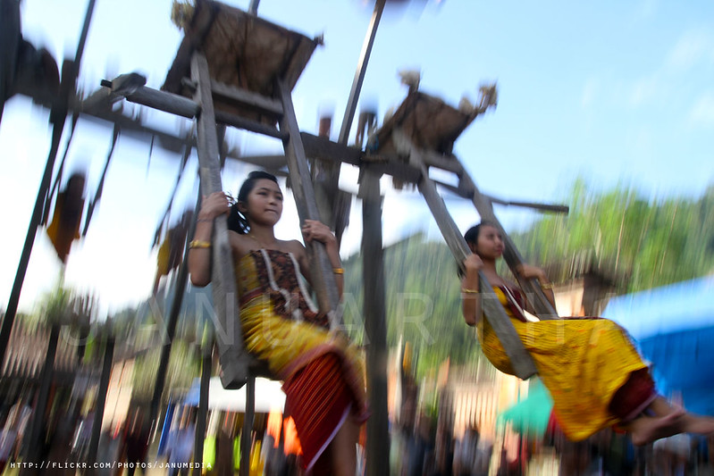 bali image of traditional swing from tenganan pegeringsingan, karangasem