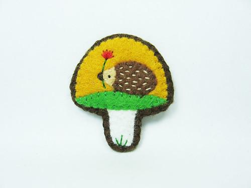 Tiny mushroom felt brooch