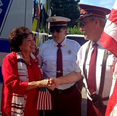 Meeting with firefighters at Peekskill's Independence Day Parade.