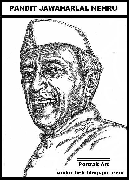 Pandit Jawaharlal Nehru Drawing Original 416 × 582