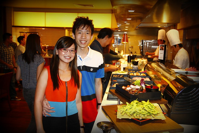 At sashimi buffet section