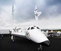 Virgin Galactic Full Size SpaceShipTwo Replica makes Star Appearance at Farnbrough Airshow. Photo by Mark Chivers