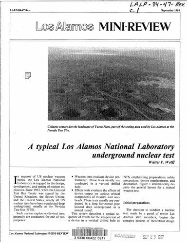 Typical LANL underground nuclear test
