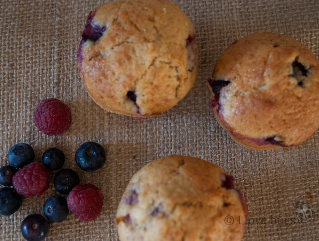 Muffins de arándanos y frambuesas 3