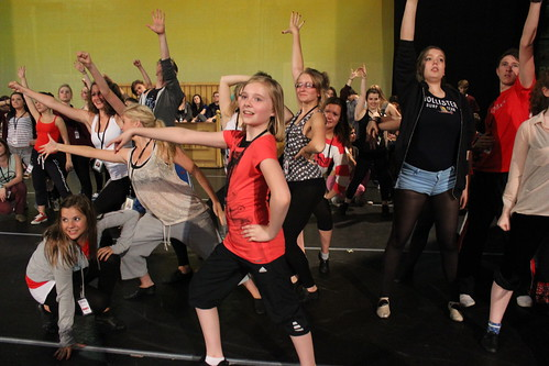 The chorus of the seventh Edinburgh Playhouse Stage Experience in rehearsal for Footloose. July 2012