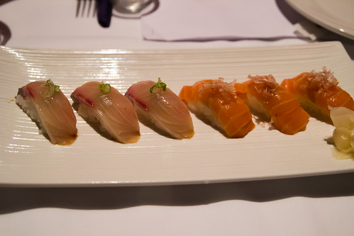 Kampachi and Salmon Sushi at Emilia Romagna