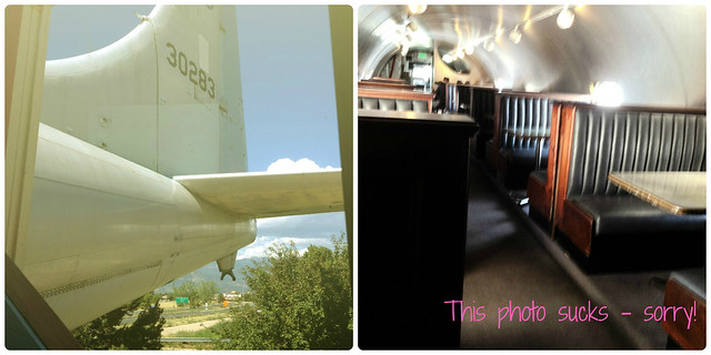 Outside and inside of The Airplane Restaurant in Colorado Springs CO