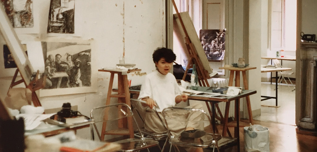 Sunny Lee in Palazzo Massimo studio, summer 1988.  photo / Susan Portman Price (B.S. URS '90, M.R.P. '91)