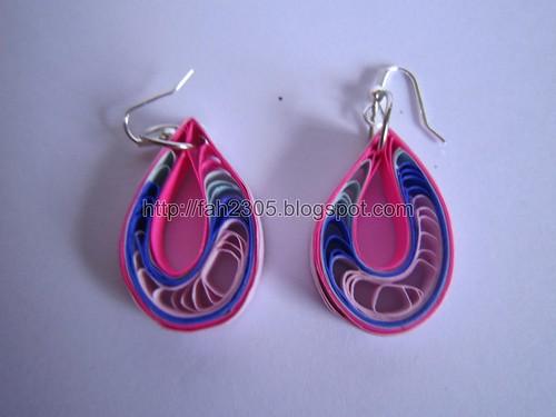 Handmade Jewelry - Paper Quilling Teardrops Earings(Pink,Blue,Sky Blue Dark Pink) (1) by fah2305