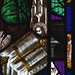 Worcester, Worcestershire, cathedral, stained glass window, detail