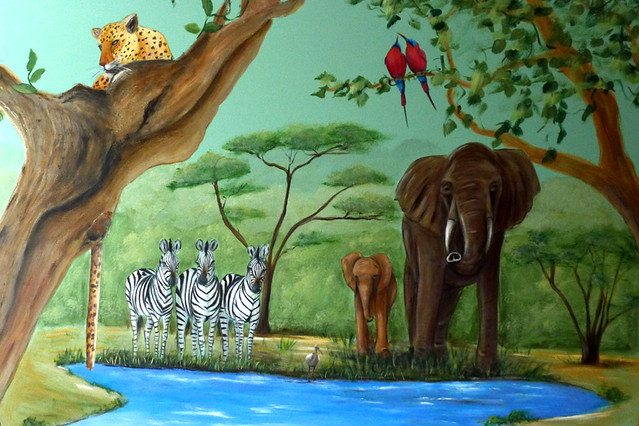 Jungle animal mural baby boy nursery flickr photo for Baby jungle mural