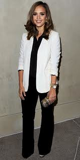 Jessica Alba White Blazer Celebrity Style Fashion