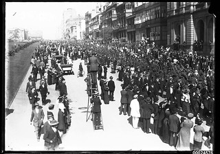 Australian troops marching along Macquarie Street, Sydney