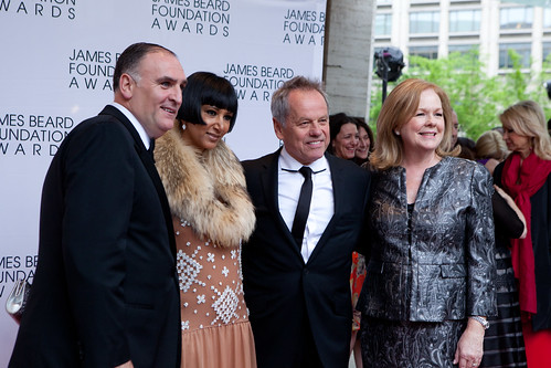 Chefs José Andrés, Wolfgang Puck and his wife, Susan Ungaro